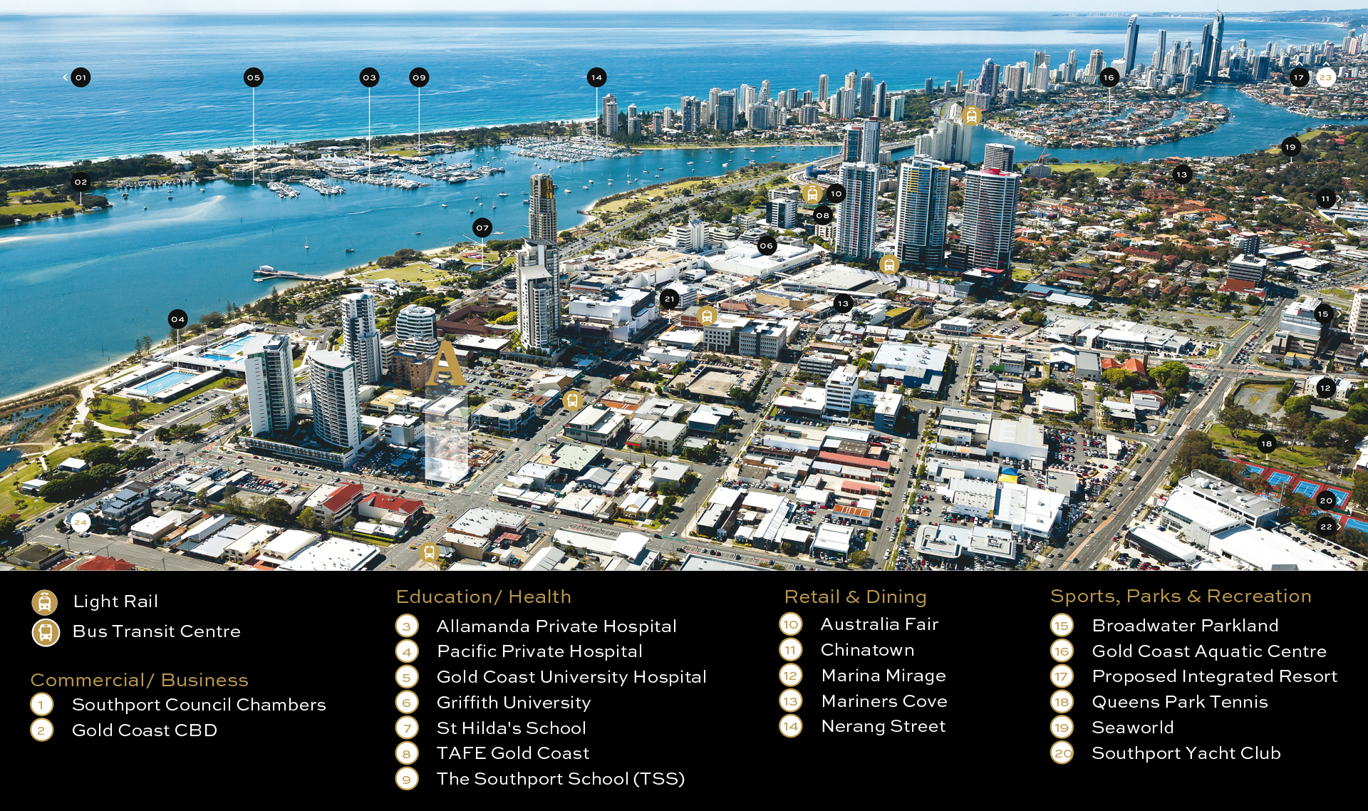 Gold Coast Tourist Map inc Attractions Hotels Landmarks