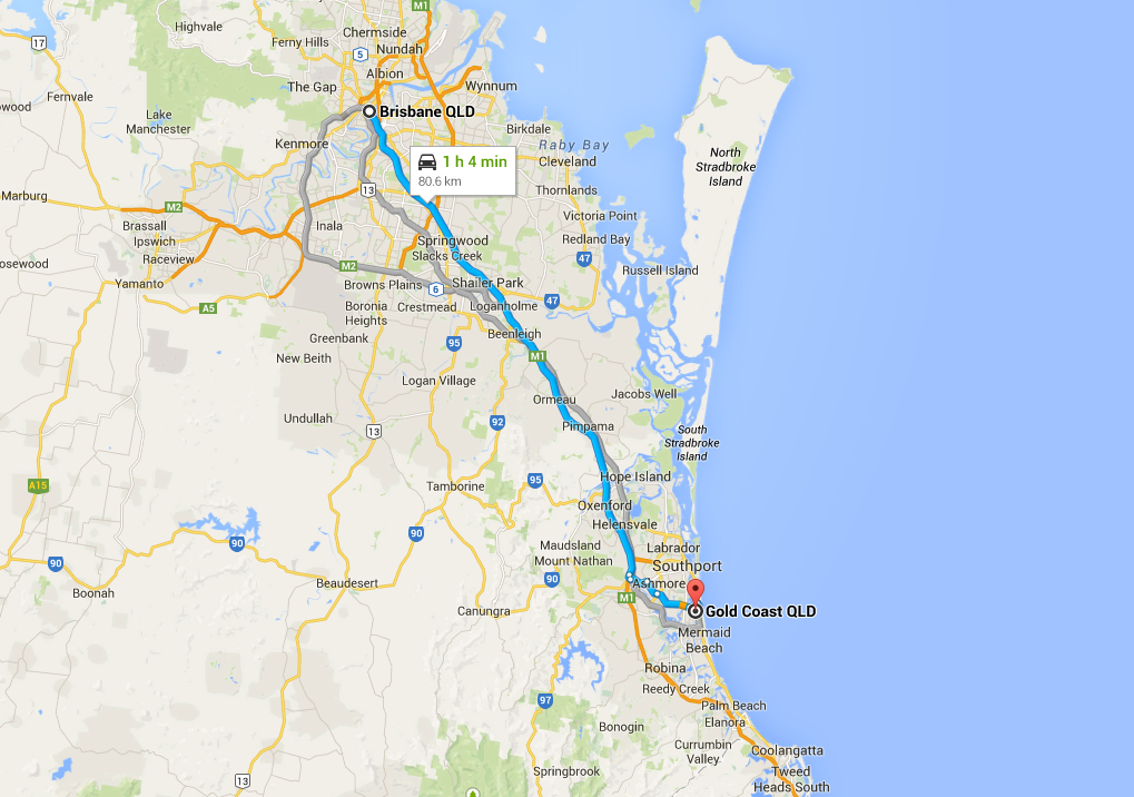 brisbane to gc google map