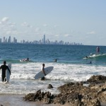 Surfers at Currumbin Rocks